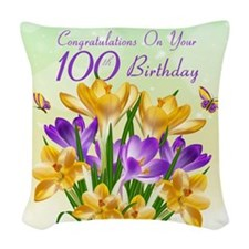 100th Birthday Crocus Woven Throw Pillow
