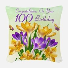 100th Birthday Crocus Woven Throw Pillow