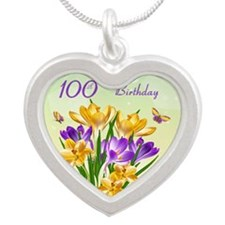 100th Birthday Crocus Silver Heart Necklaces