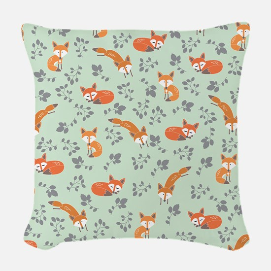Foxy Floral Print Woven Throw Pillow