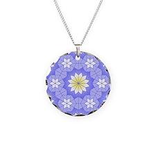 Lavender Blue Necklace Circle Charm
