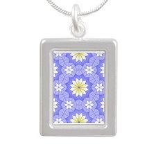 Lavender Blue Silver Portrait Necklace