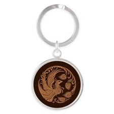 Traditional Brown Phoenix Circle Keychains