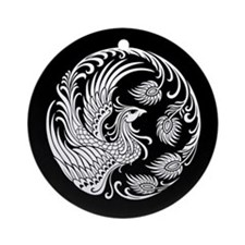 Traditional White Phoenix Circle on Black Ornament