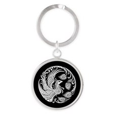 Traditional White Phoenix Circle on Black Keychain
