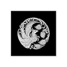 Traditional White Phoenix Circle on Black Sticker