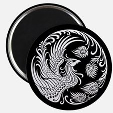Traditional White Phoenix Circle on Black Magnets