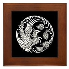 Traditional White Phoenix Circle on Black Framed T