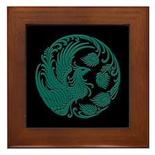 Traditional Teal Blue Phoenix Circle on Black Fram