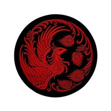 "Traditional Red Phoenix Circle on Black 3.5"" Butto"