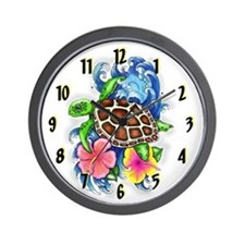 Tropical Sea Turtle Hibiscus Clock Design 2 Wall C