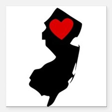 """New Jersey Heart Square Car Magnet 3"""" x 3"""""""
