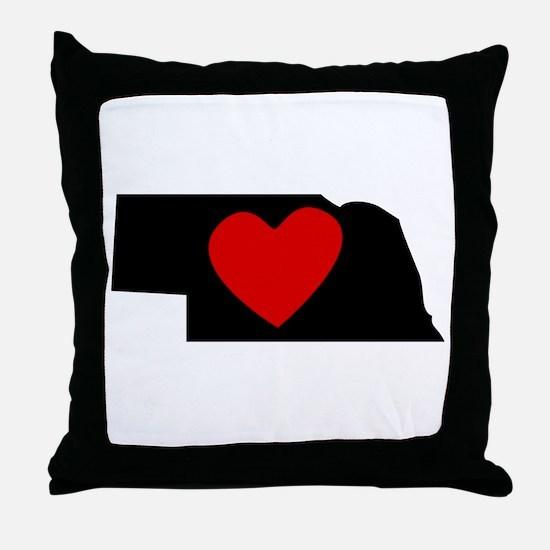 Nebraska Heart Throw Pillow
