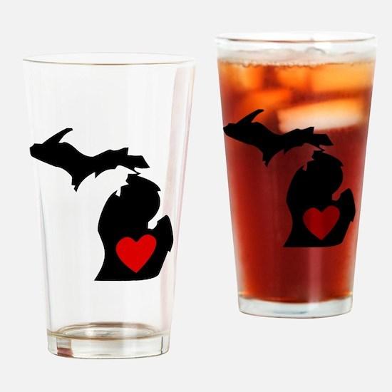 Michigan Heart Drinking Glass