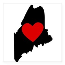 "Maine Heart Square Car Magnet 3"" x 3"""