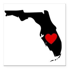 "Florida Heart Square Car Magnet 3"" x 3"""