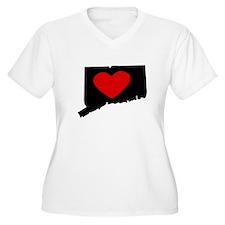 Connecticut Heart Plus Size T-Shirt