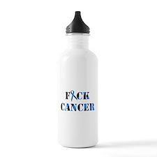 F*ck Cancer Black Blue Water Bottle