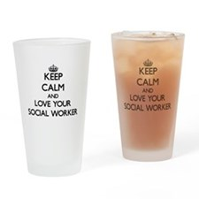 Keep Calm and Love your Social Worker Drinking Gla