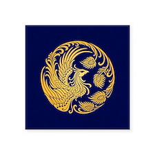 Traditional Yellow Phoenix Circle on Blue Sticker