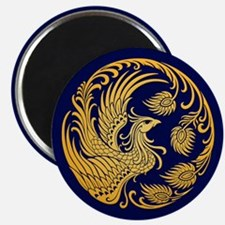 Traditional Yellow Phoenix Circle on Blue Magnets
