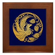 Traditional Yellow Phoenix Circle on Blue Framed T
