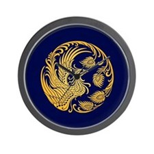 Traditional Yellow Phoenix Circle on Blue Wall Clo