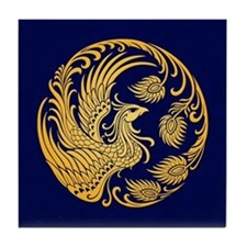 Traditional Yellow Phoenix Circle on Blue Tile Coa