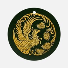 Traditional Yellow Phoenix Circle on Black Ornamen