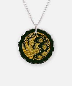 Traditional Yellow Phoenix Circle on Black Necklac
