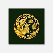 Traditional Yellow Phoenix Circle on Black Sticker