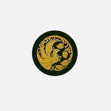 Traditional Yellow Phoenix Circle on Black Mini Bu