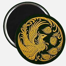 Traditional Yellow Phoenix Circle on Black Magnets