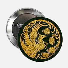 "Traditional Yellow Phoenix Circle on Black 2.25"" B"