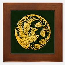 Traditional Yellow Phoenix Circle on Black Framed