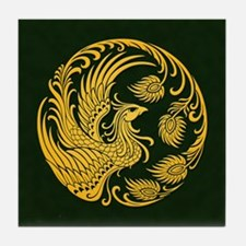 Traditional Yellow Phoenix Circle on Black Tile Co