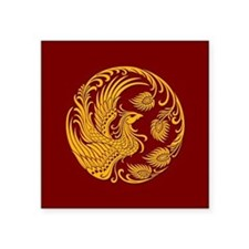 Traditional Yellow Phoenix Circle on Red Sticker