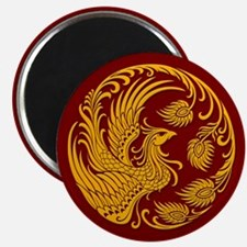 Traditional Yellow Phoenix Circle on Red Magnets