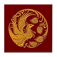 Traditional Yellow Phoenix Circle on Red Tile Coas