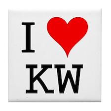 I Love KW Tile Coaster