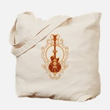 Intricate Golden Red Guitar Design Tote Bag