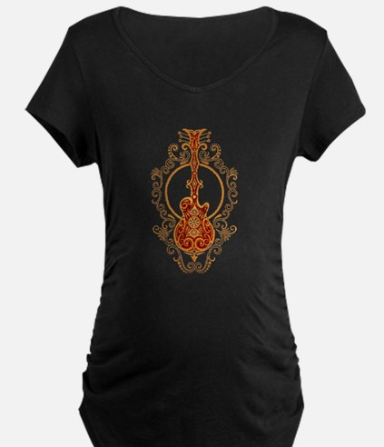 Intricate Golden Red Guitar Design Maternity T-Shi
