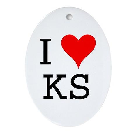 I Love KS Oval Ornament