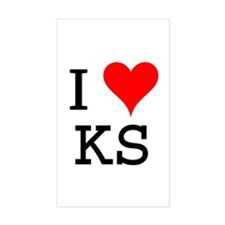 I Love KS Rectangle Decal