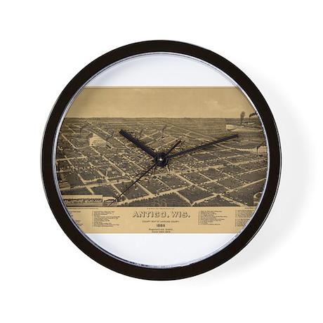 Antique Map of Antigo, Wis. c Wall Clock