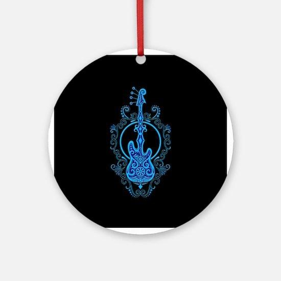 Intricate Blue Bass Guitar Design on Black Ornamen