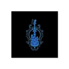 Intricate Blue Bass Guitar Design on Black Sticker