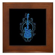 Intricate Blue Bass Guitar Design on Black Framed