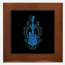 Intricate Blue Bass Guitar Design on Black Framed
