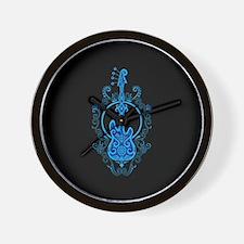 Intricate Blue Bass Guitar Design on Black Wall Cl